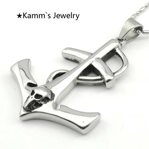 US $6 59 12% OFF|Anchor Pendant Skull Silver Black 316L stainless steel  Pendants Necklaces skyrim pendulum camafeu tray jewerly titanic KP1210-in