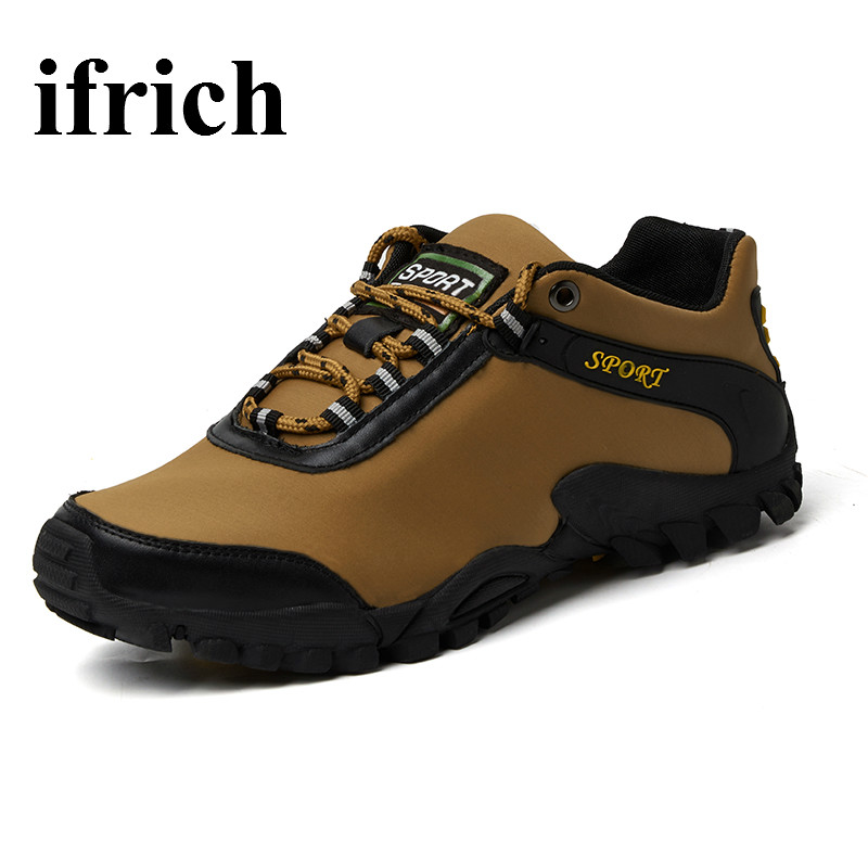 Ifrich Mens Walking Shoes Anti Slip Men Outdoor Shoes Spring Autumn Walking Trainers Mens Brown Gray