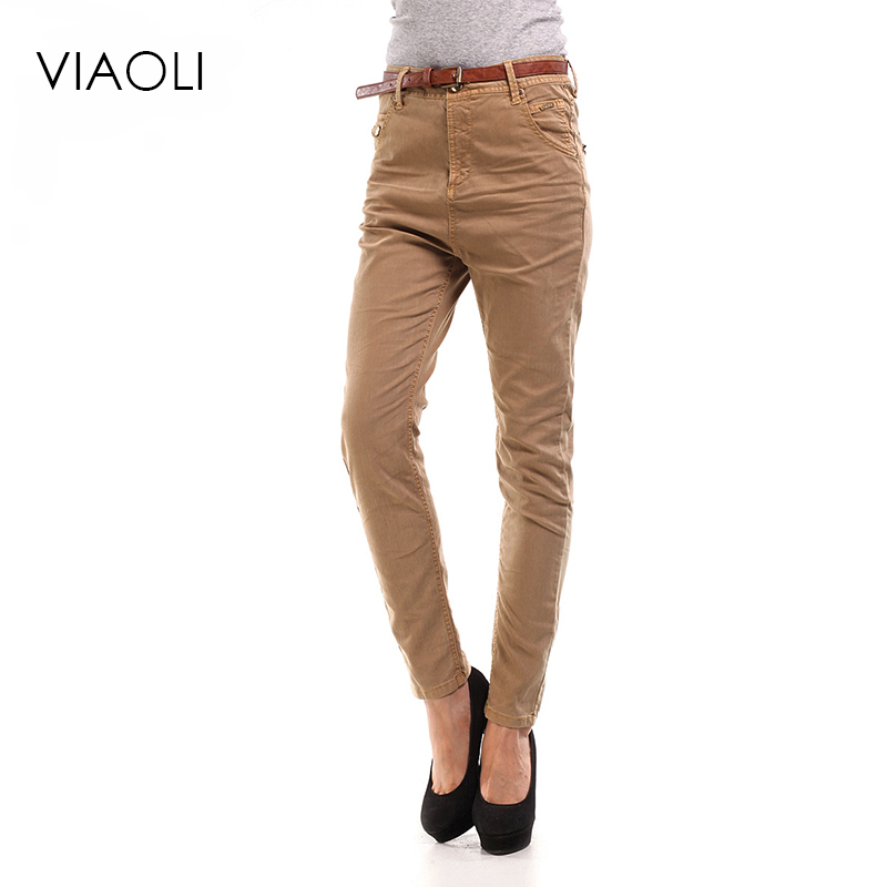 VIAOLI spring and autumn women 72% cotton midfielder Slim jeans trousers khaki jeans pants ladies feet pants high quality with