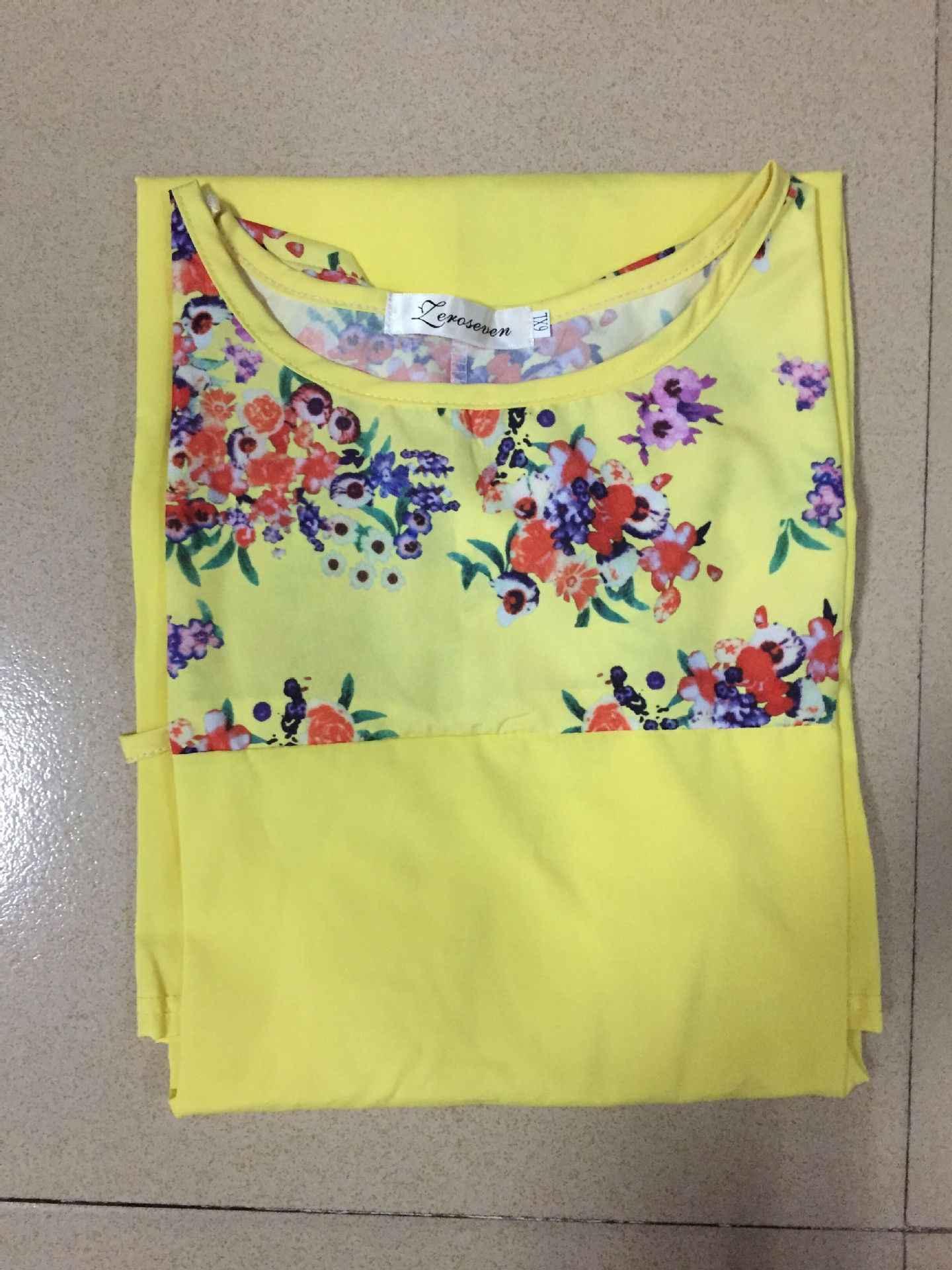 AliExpress חם קיץ שמלת נשים חדש עגול XXXXXXL צוואר שרוול דיגיטלי הדפסת מותניים גדול גודל נשים שמלות Vestidos BLK8025