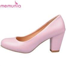 MEMUNIA 2020 새로운 도착 여성 하이힐 봄 가을 단일 신발 간단한 얕은 여자 펌프 라운드 발가락 큰 크기 34 47