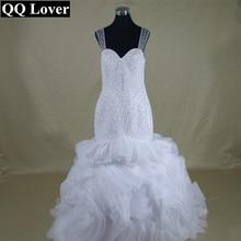 QQ Lover African Full Beaded Organza Ruffles See Through Back Mermaid Wedding Dress Custom-made Bridal Gowns Wedding Dresses
