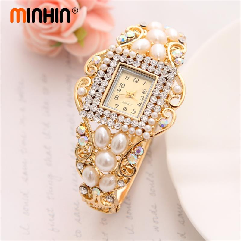 MINHIN Wholesale Lady Noble Bangle Watch Crystal Geneva Quartz Watches Women Wristwatch Imitation Pearl Wrist Dress Quartz Watch