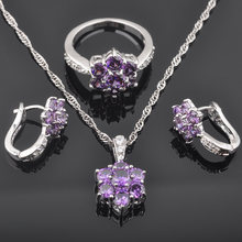 Wedding Jewelry Purple Zirconia Women Australia Crystal 925 Sterling Silver Jewelry Sets Necklace Pendant Earrings Ring QZ0501(China)