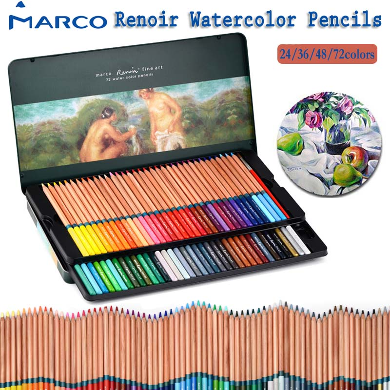 Marco Renior Fine Art Watercolor Pencils set 24 36 48 72 colors Soft Core Water Soluble Colored Pencil with Metal Tin Case brush цена