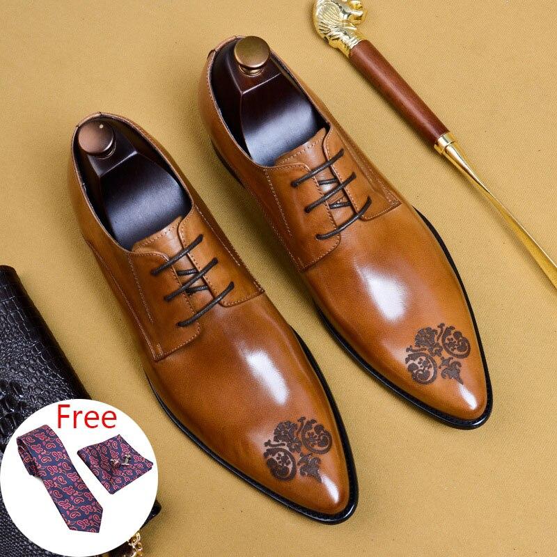 Mens formale scarpe di cuoio scarpe oxford per gli uomini spogliatoio degli uomini di nozze scarpe brogue scarpe ufficio del merletto up di sesso maschile zapatos de hombre-in Scarpe da cerimonia da Scarpe su  Gruppo 1