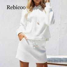 Rebicoo 2019 Two piece lace up casual suit dress women Cotton white autumn winter hooded sweatshirt Oversized Knitted dres
