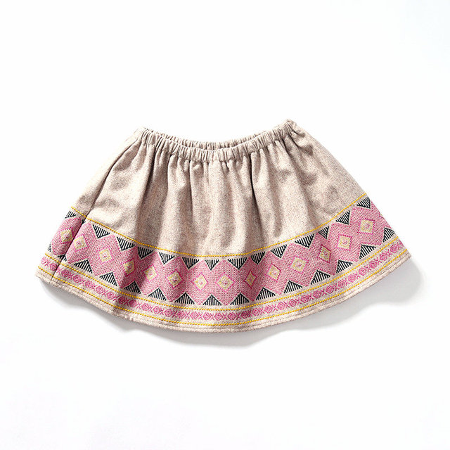 Spring Summer Children Baby Girls Skirts Wool Clothing Baby Girls Personalized Embroide Skirts Casual Short Skirts 3-12Y SAJ3126