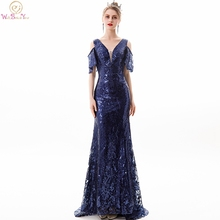 Navy Blue Sequined Evening Dresses 2019 Off Shoulder Short Sleeves Mermaid Long Sweep Train Prom Gowns Lace Up Walk Beside You blue cold shoulder long sleeves lace blouses