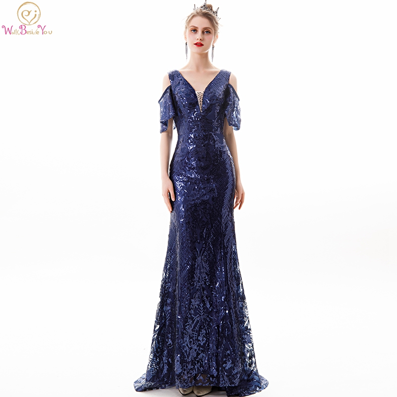 Navy Blue Sequined   Evening     Dresses   2019 Off Shoulder Short Sleeves Mermaid Long Sweep Train Prom Gowns Lace Up Walk Beside You