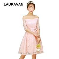 girls sweet 16 cute modest formal teen sleeved boat neck tops pink peach lace homecoming short dresses party ball gown 2019