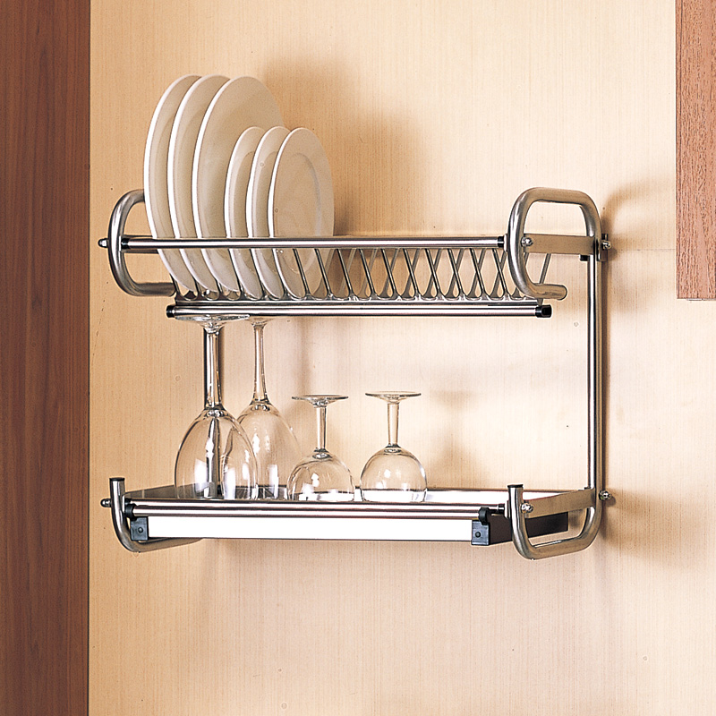 Kitchen 304 Stainless Steel Dish Drain Rack Drain Basket Wall Hanging Double Rack Give 4pcs Hook