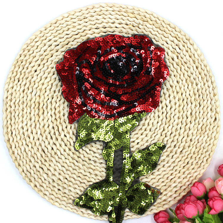 Clothing, Shoes & Accessories Generous Bt155 3 Pcs/lot New Arrival New York Fashion Red Rose Sequins Patch Sew Or Iron On Cloth Free Shipping & Factory Price For Lady Shirts