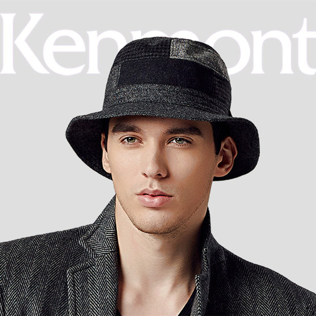 Hot Selling Kenmont Spring Autumn Men Bucket Hat Woolen Cap Camping Hiking  Hunting Fishing Boonie Black Hip Hop 2261 c39c6543700b