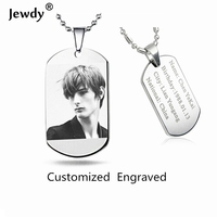 Jewdy DIY Customed Letter Photo Printed Dog Tags For Men Military Army Style Necklace For Women