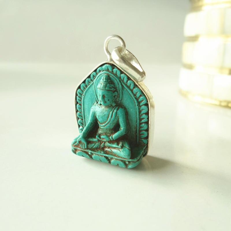 TBP684 Tibetischen Ton Skulptur Buddha Amulette Anhänger Tasche Buddha Simulierte Türkisen Verkrustete Buddha Tara Ganyin