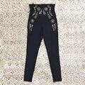 Sólido Negro Remache Pantalones Elásticos Flaco Delgado de Alta Calidad de La Manera Mujer Primavera Invierno Nueva Llegada de la Alta de La Calle de Las Mujeres Pantalones