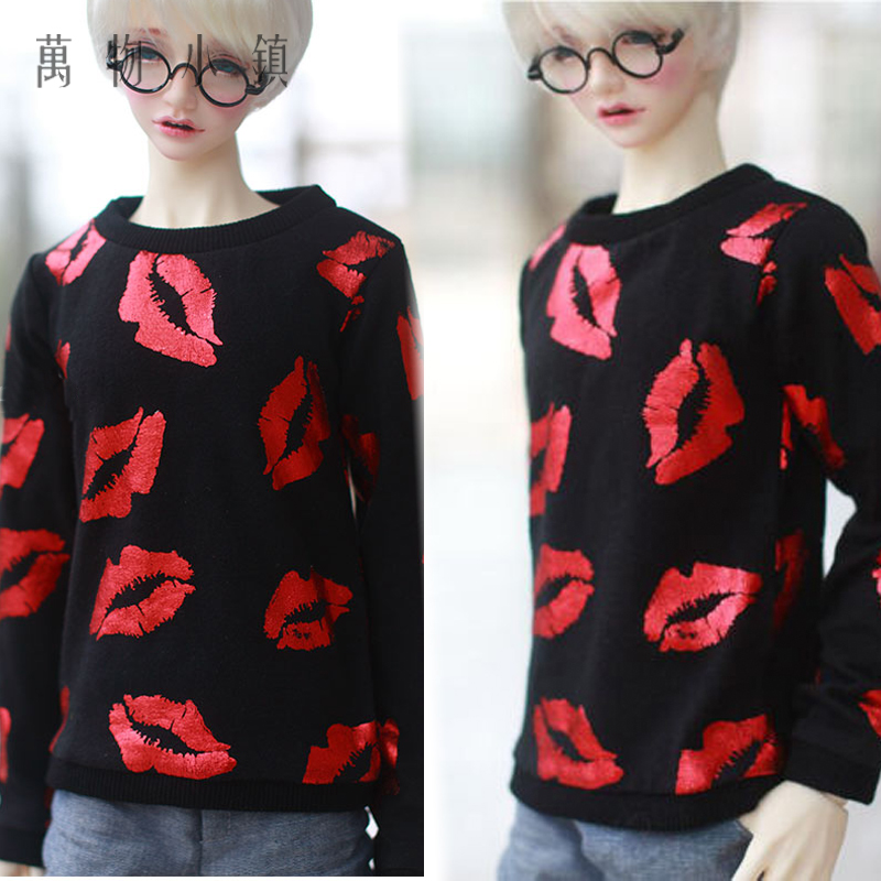 NEW Fashion Black Red lip Tops T-shirt 1/3 1/4 BJD SD MSD Doll Clothes handsome fur collar black woolen coat for bjd doll 1 4 1 3 uncle bjd sd msd doll clothes cm70