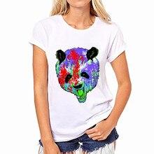 2017 New Fashion Newest T Shirt Women Crew Neck Top Short Sleeve Loose Chiffon Short sleeve Gentle Bear Harajuku Print Tees Tops
