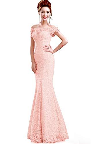 Misshow Русалка вечернее платье Розовое Кружевное длинное вечернее платье Элегантное с открытыми плечами без рукавов robe de Soiree - Цвет: pink