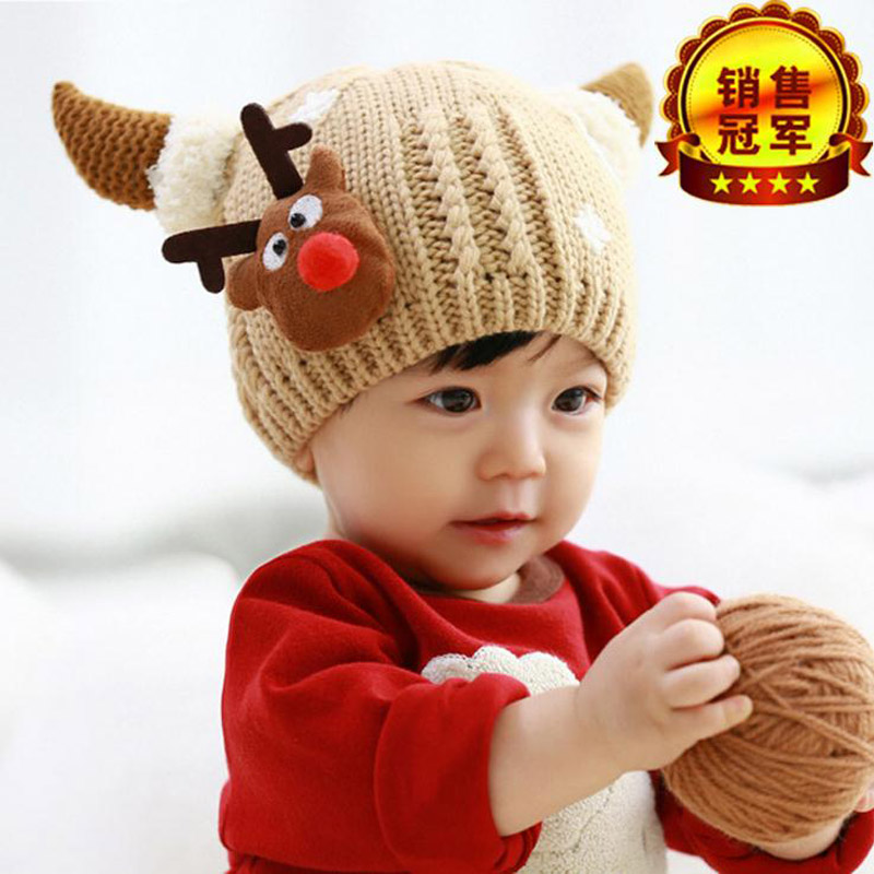 2016 New Child Christmas deer baby Winter Hats Fur Children Knitting wool Hat/Caps kids Warmer earflap beanie the new children s cubs hat qiu dong with cartoon animals knitting wool cap and pile