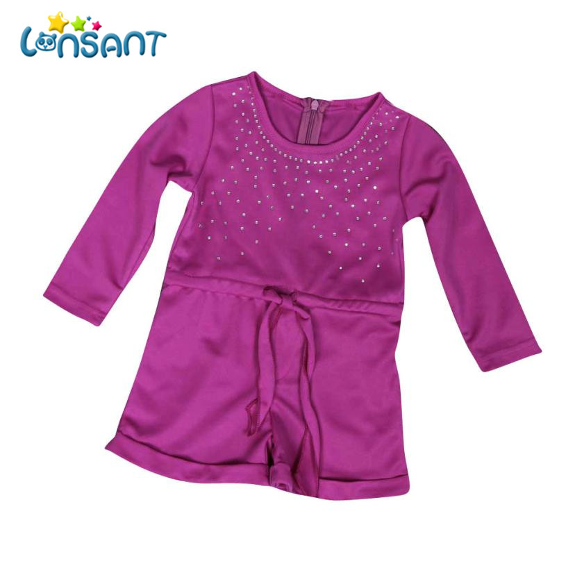 LONSANT 2018 Baby Girls Long Sleeve Rompers Solid Cotton Jumpsuits Robe Fille Girls Clothes Roupa Infantil Menina Dropshipping