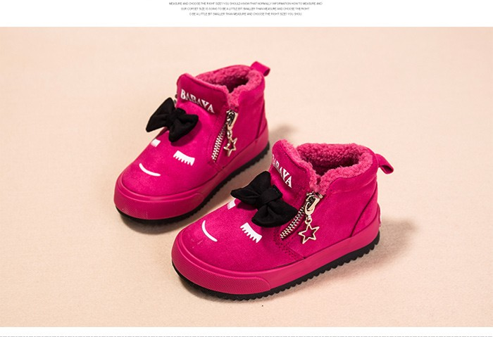 2017 Bowknot Kids Boots Girls Shoes Fashion Hot Warm Cotton Shoes Children Sneakers Winter Boots Cute Cartoon Smile Girls Boots 492 (10)