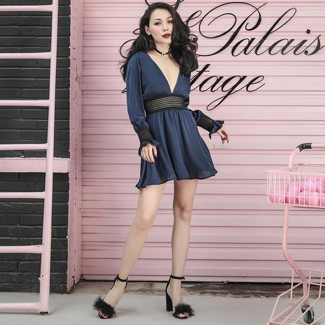 2018 Spring Elegant Very Sexy Lantern Sleeve Low Cut Chiffon Dress Stylish Hollow Out Lace Decorated Dress Adjustable Waist