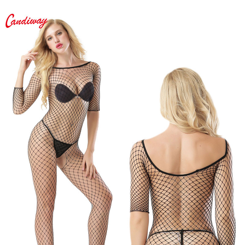 Sex Lingerie Fishnet Bodystockings Elegant Design Boat Neck Long Sleeve Open Crotch Erotic Porno Lingerie Costume Underwear