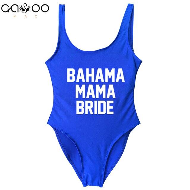 8663dc4b3a885 BAHAMA MAMA BRIDE 2019 Women One Piece Swimsuits Letter Print Female Bikini Backless  Bathing Suit For Girls Beachwear 11 colors