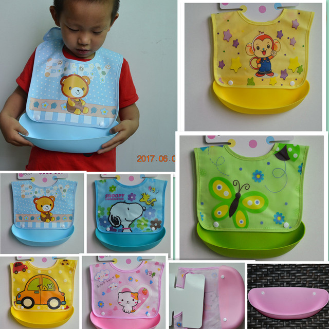 Detachable Baby Bibs Waterproof Feeding Apron Burp Cloths Infant Toddler Kids Reusable Boy Girl Silicone Bib 0-3 Years
