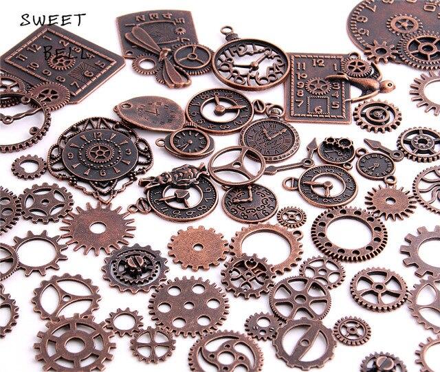 40pc/lot Diy Vintage Charms Metal Zinc Alloy Gear Pendant Charms Mixed Steampunk