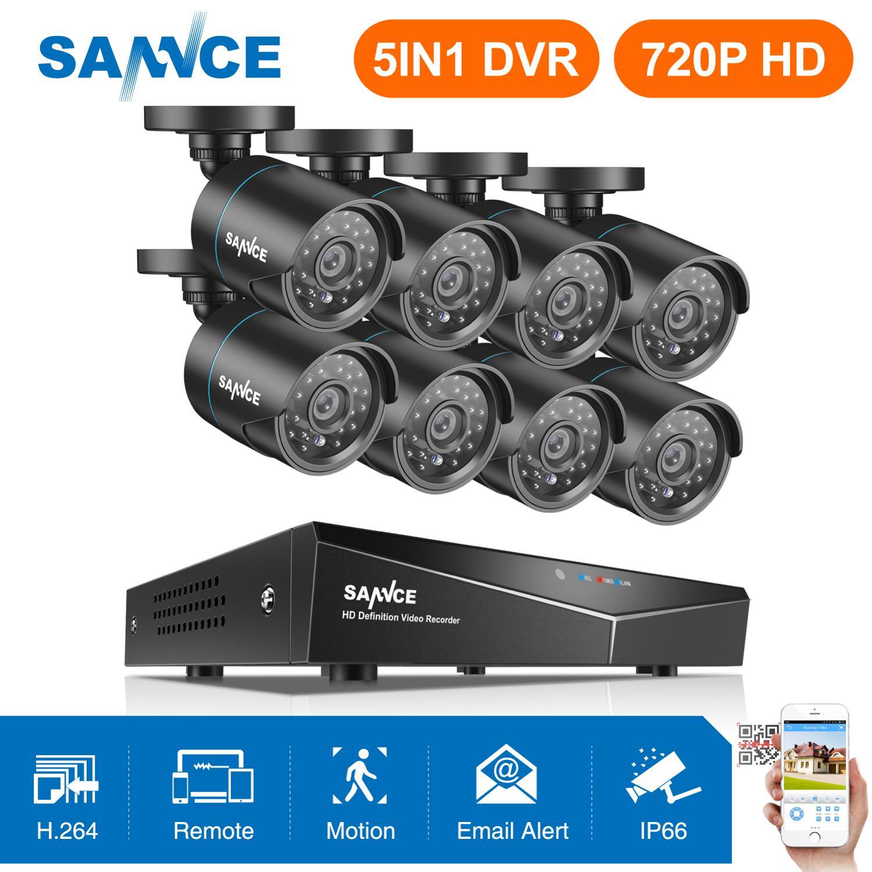 SANNCE 8CH 5IN1 HDMI Com 8pcs 1080N Casa CCTV Sistema de Vigilância 720P TVI Exterior À Prova de Intempéries Câmeras de Segurança Em Casa kit CCTV