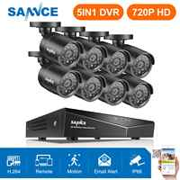 SANNCE 8CH 720P Home Video Security System 5IN1 1080N HDMI DVR With 8PCS 720P Outdoor Weatherproof TVI Cameras CCTV Set Kit