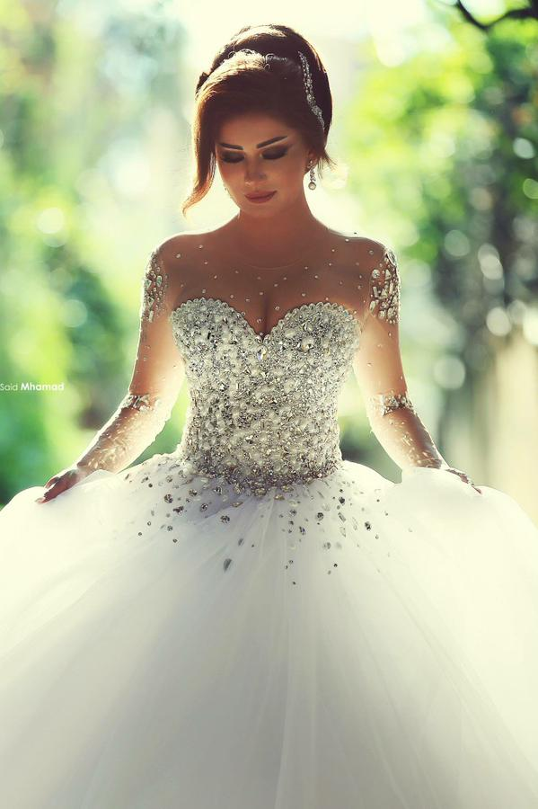 Dlouhé rukávy Svatební šaty 2019 Svatební šaty s krajkou nahoru Luxusní Crystal Rhinestone Sheer Straps Ball Gown doprava zdarma  t