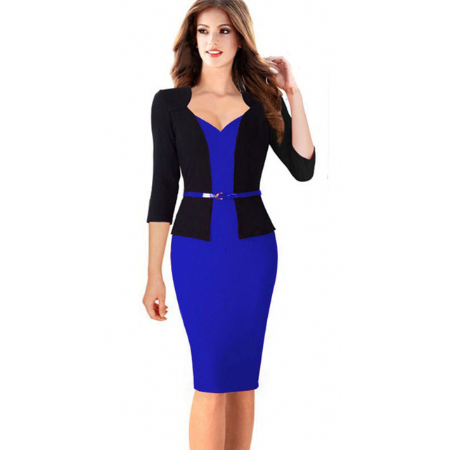 Formal Work Office Pencil Bodycon Blue Dress 3 4 Sleeve Womens Business Knee  Length with Belt Patchwork Red Dress Career Apparel 5888e40e4abe