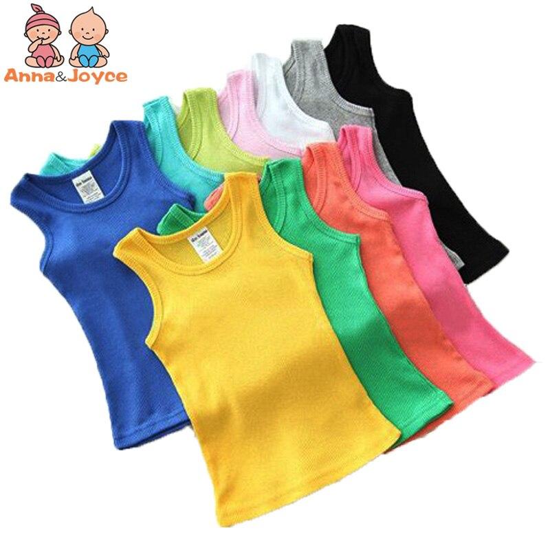1 Pc Childrens Vest Girls Casaul T-shirt Boys Sport Vest Cangy Color Cotton Vest ATST0264