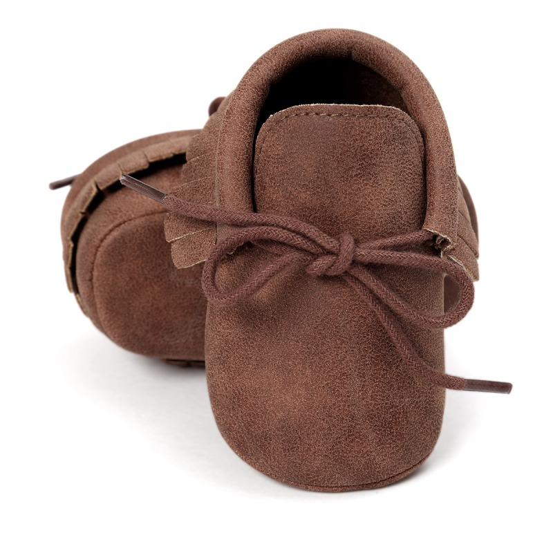 PU Suede Leather Newborn Baby Boy Girl Moccasins Fringe Soft Soled Non-slip Footwear Crib Lace-up Shoes