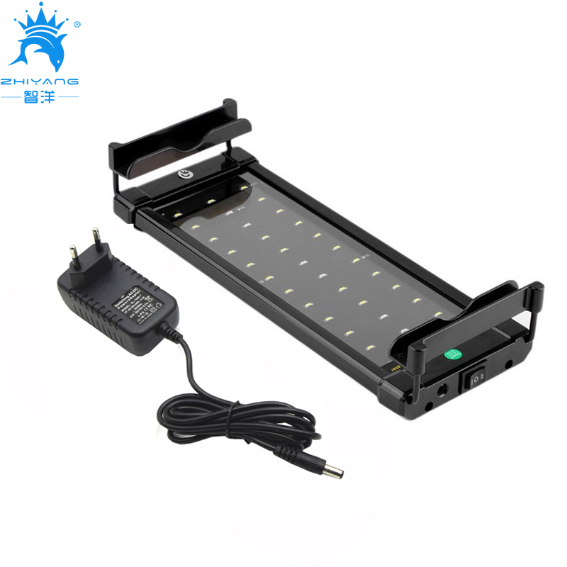 30-50cm Aquarium LED Lighting Fish Tank Light Lamp with Extendable Brackets 30 White 6 Blue LED light for Aquarium lighting