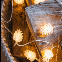 купить 1.5M 10 Leds  Battery String lights White PineCone Christmas tree holiday Home Party decoration lighting indoor Fairy Lights по цене 128.76 рублей