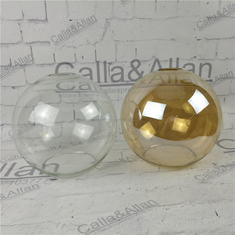 Amber/clear glass ball shade D200mm DIY lighting lampshade cone glass pendant light shade Design your own light glass shade 25cm glass shade ball pendant light lighting fixture drawing lights
