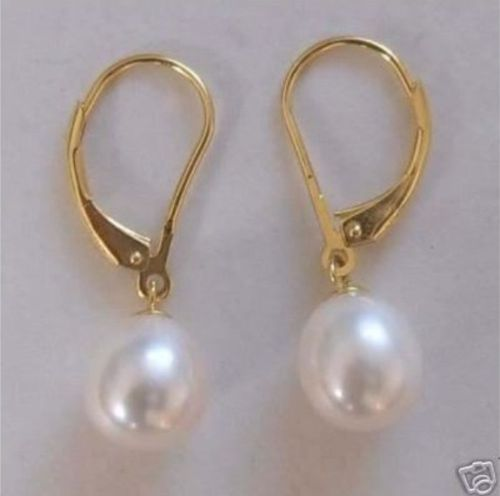 12-13 mm natural south sea white pearl earrings 14 K gold hosseini k sea prayer