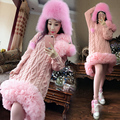 2016 Thailand tide brand new high necked pink flowers  loose thick mesh long sweater