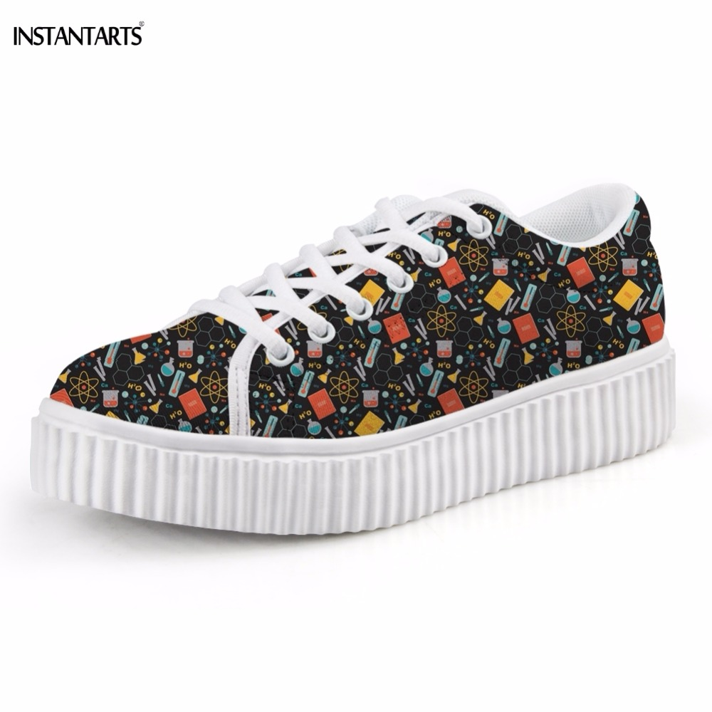 INSTANTARTS Funny Science Pattern Woman Breathable Platform Shoes Casual Winter Flats Shoes Fashion Teenage Girls Creeper Shoes