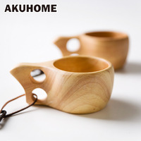 Finland Kuksa Portable Coffee Mug Rubber Wood Handle Two Hole Cowhide Rope Hook Juice Milk