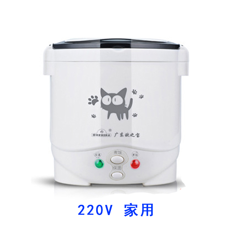 1L Mini Rice Cooker Portable Electric Rice Cooking Machine Non stick Coating with Steamer Home 220V /Car 12V 24V for 2 Persons