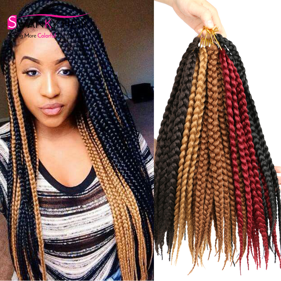 14 3s Box Braids Hair Medium Length Pre Twisted Box Braids Black