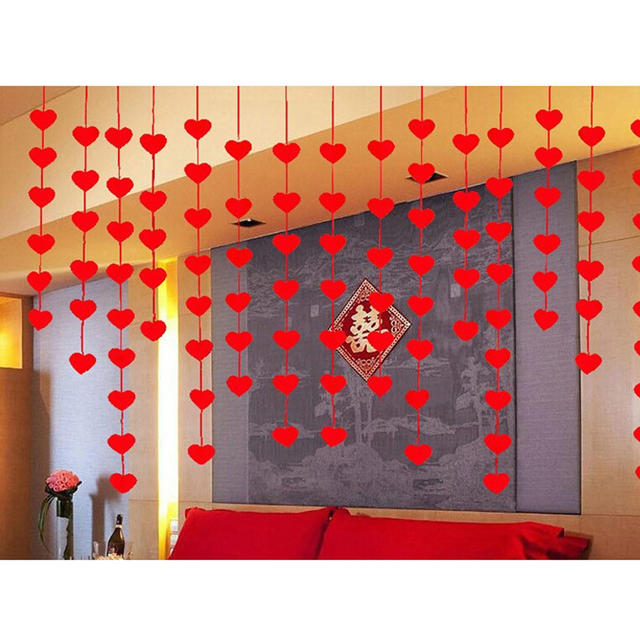 16pcs red heart shaped garland hanging paper string valentines day