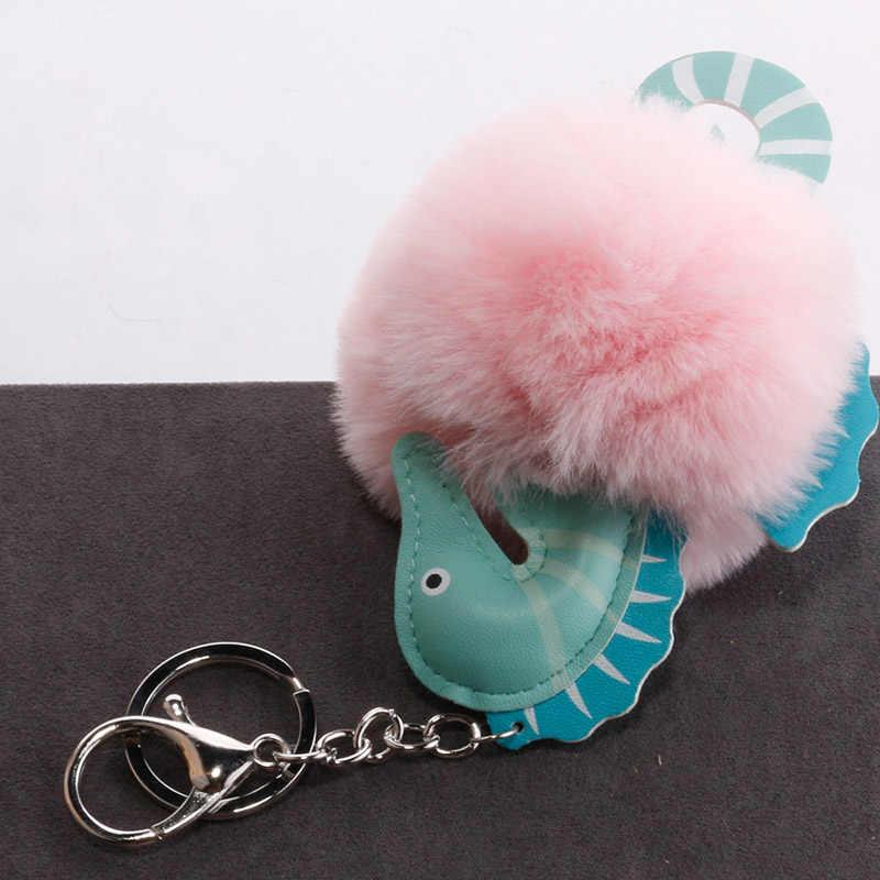 لطيف جلدية البحر الحصان المفاتيح الاصطناعي الأرنب الفراء الكرة أضاليا النساء سيارة يد سحر كيرينغ حامل مجوهرات اكسسوارات