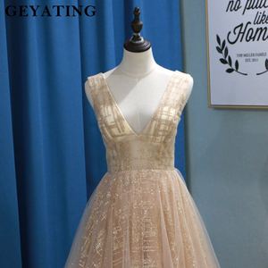 Image 2 - Glitter Champagne Sequins Evening Party Gowns 2020 Elegant Women Plus Size Formal Dress Sexy V Neck Backless Prom Dresses Gold